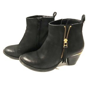 Steve Madden black booties with gold accents